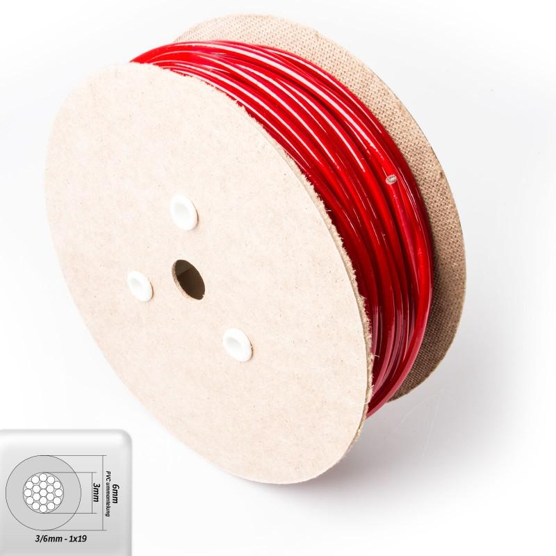 drahtseil 6mm verzinkt pvc ummantelt rot draht 3mm 1x19. Black Bedroom Furniture Sets. Home Design Ideas
