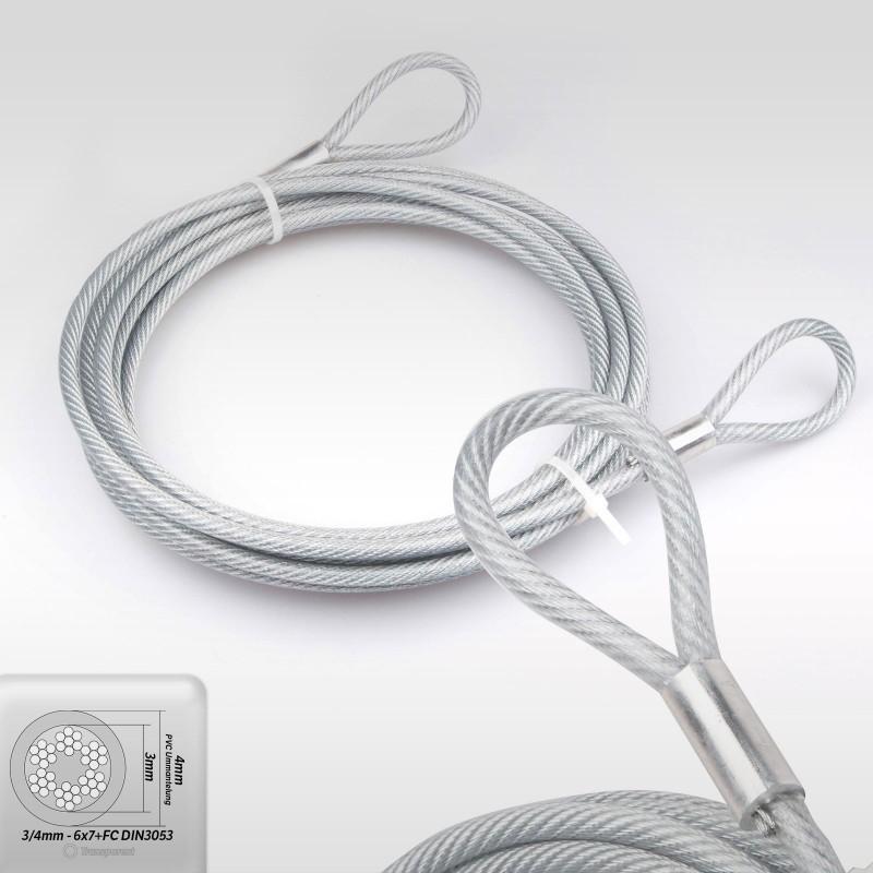 4mm Stahlseil PVC mit Ösen - Länge: 0,5m - Drahtseil mit PVC ...