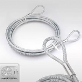5mm Stahlseil PVC mit Ösen - Länge: 3m - Drahtseil mit PVC Ummantelung  (Draht 4mm - 6x7+FC) - 2 Schlaufen - Sicherungsseil