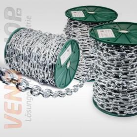 4mm Stahlkette - kurzgliedrig Rundstahlkette Eisenkette (Meterware: 1m - 70m)
