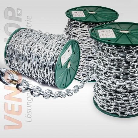 2mm - 6mm Stahlkette verzinkt langgliedrig Rundstahlkette Eisenkette (Meterware: 1m - 150m)
