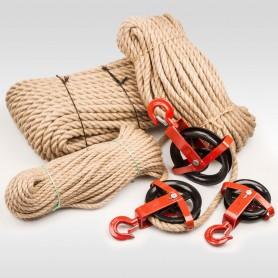 14mm  JUTESEIL + UMLENKROLLE mit Haken Tauwerk Seilwinde Seilzug Seil Seilrolle (Meterware: 10m - 200m)
