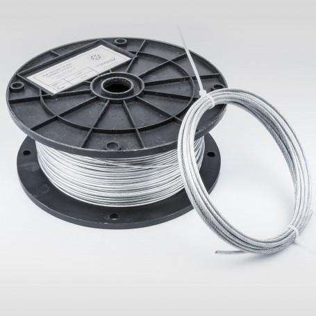 Drahtseil 2mm verzinkt PVC ummantelt transparent (Draht 1mm - 1x19) 50m bis 400m DIN 3052 Stahlseil 2 mm