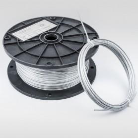Drahtseil 3mm verzinkt PVC ummantelt transparent (Draht 2mm - 6x7+FC) 5m bis 200m DIN 3055 Stahlseil 3 mm