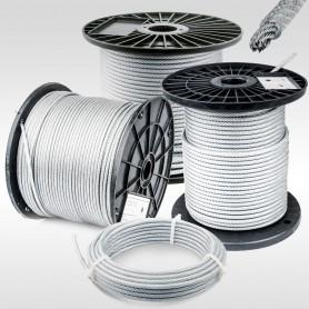 Drahtseil 5mm verzinkt PVC ummantelt transparent (Draht 4mm - 6x7+FC) 5m bis 100m EN12385-4 Stahlseil 5 mm