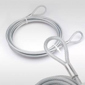 4mm Stahlseil PVC mit Ösen - Länge: 0,5m - Drahtseil mit PVC Ummantelung  (Draht 3mm - 6x7+FC) - 2 Schlaufen - Sicherungsseil