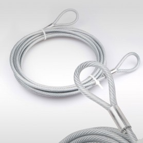 5mm Stahlseil PVC mit Ösen - Länge: 2m - Drahtseil mit PVC Ummantelung  (Draht 4mm - 6x7+FC) - 2 Schlaufen - Sicherungsseil
