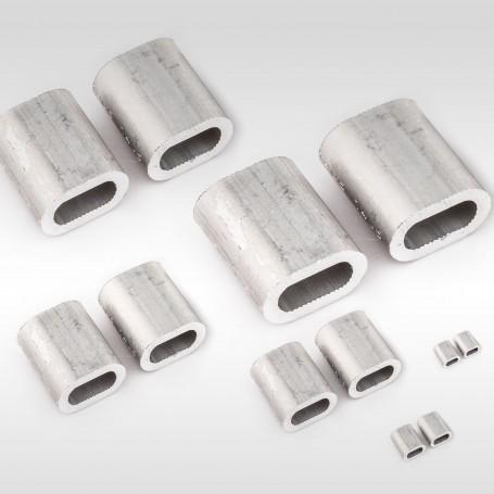 3mm Aluminium Pressklemmen - Presshülsen für Drahtseil 3mm (ab 10 stück)