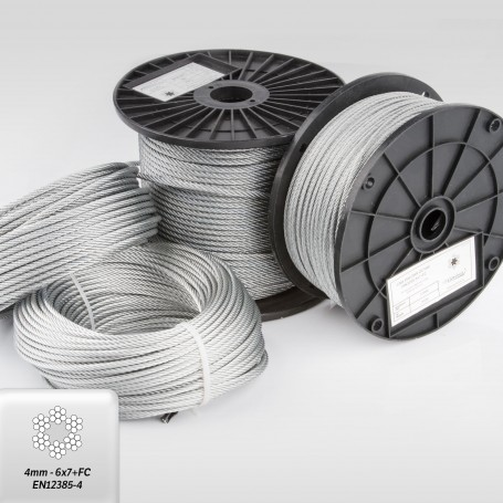 Drahtseil 4mm (6x7+FC) 5m bis 200m EN 12385-4 Stahlseil verzinkt 4 mm
