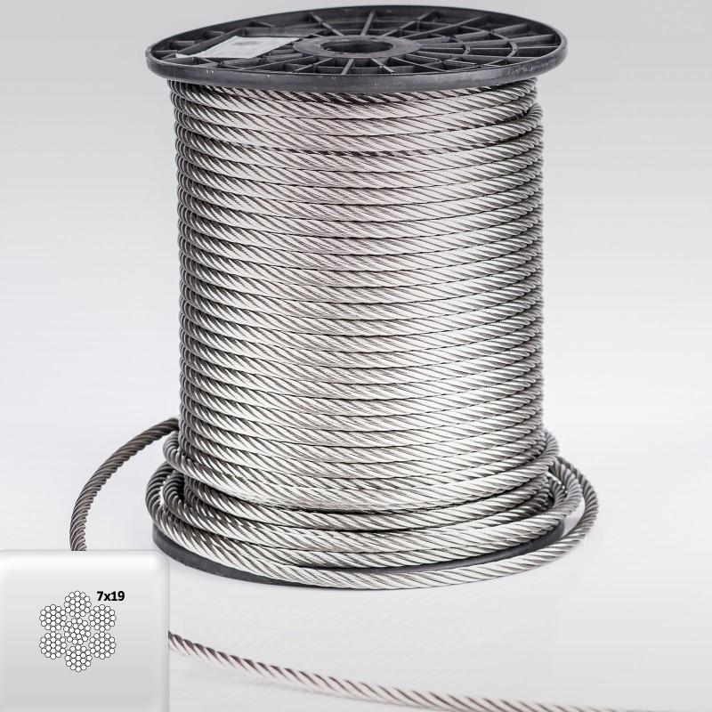 Edelstahlseil 6mm (7x19) - 5 bis 100m Drahtseil INOX AISI316 ISO2408 ...