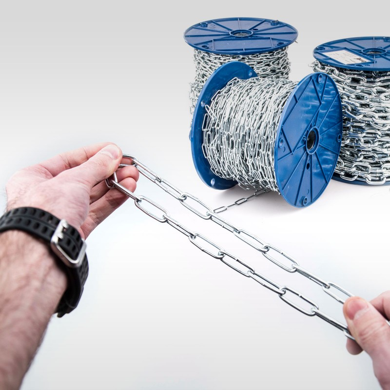 60 Meter RUNDSTAHLKETTE 3mm langgliedrig verzinkt Stahlkette DIN 5685C