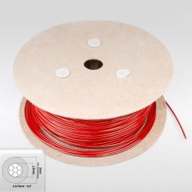 Drahtseil 3mm verzinkt PVC ummantelt rot (Draht 1,6mm - 1x7) 10m bis 200m Stahlseil 3 mm