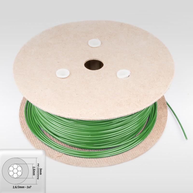 Drahtseil 3mm verzinkt PVC ummantelt grün (Draht 1,6mm - 1x7) 10m ...
