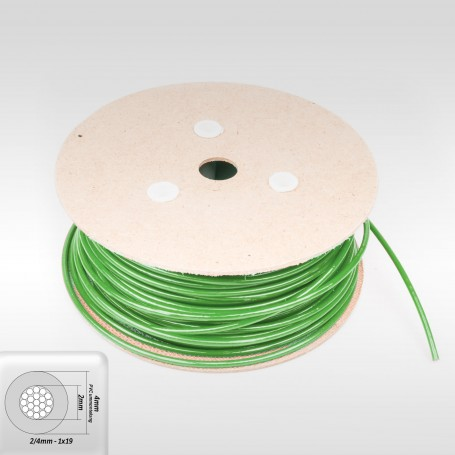 Drahtseil 4mm verzinkt PVC ummantelt grün (Draht 2mm - 1x19) 10m bis ...
