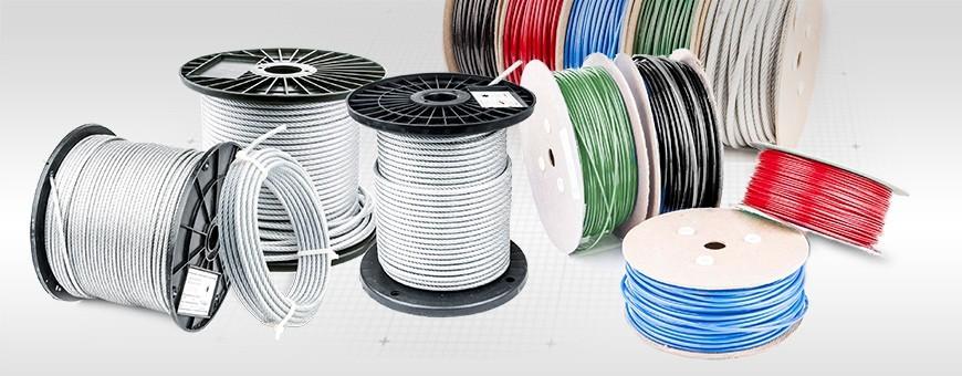 Stahlseil mit PVC Ummantelung  fünf Farben Meterware von 5m bis 200m
